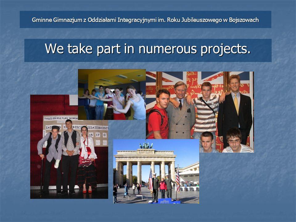 We take part in numerous projects. Gminne Gimnazjum z Oddziałami Integracyjnymi im.