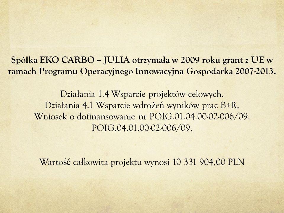 Spó ł ka EKO CARBO – JULIA otrzyma ł a w 2009 roku grant z UE w ramach Programu Operacyjnego Innowacyjna Gospodarka 2007-2013. Dzia ł ania 1.4 Wsparci