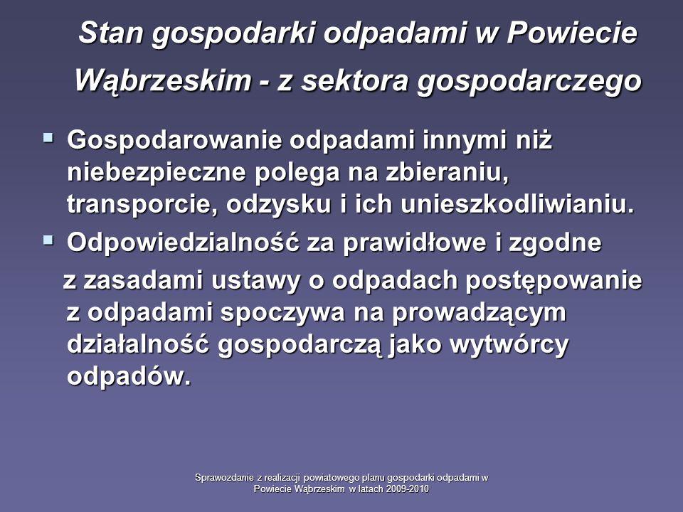 Sprawozdanie z realizacji powiatowego planu gospodarki odpadami w Powiecie Wąbrzeskim w latach 2009-2010 Gospodarowanie odpadami innymi niż niebezpieczne polega na zbieraniu, transporcie, odzysku i ich unieszkodliwianiu.