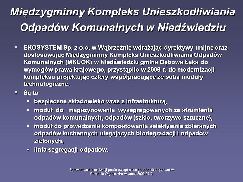 Sprawozdanie z realizacji powiatowego planu gospodarki odpadami w Powiecie Wąbrzeskim w latach 2009-2010 Międzygminny Kompleks Unieszkodliwiania Odpadów Komunalnych w Niedźwiedziu EKOSYSTEM Sp.