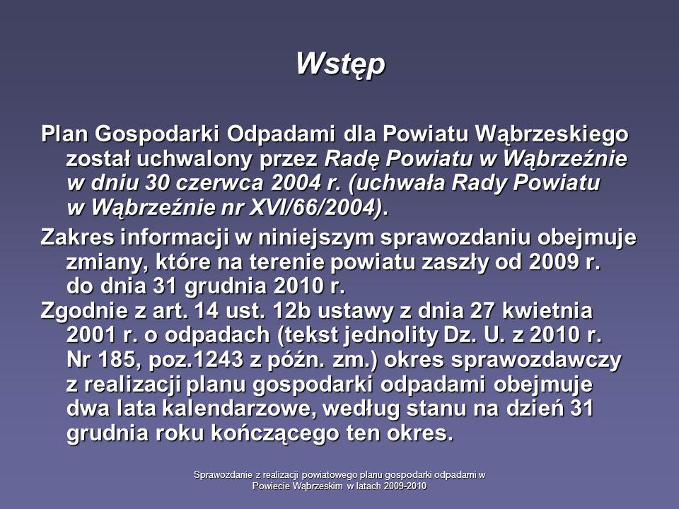 Sprawozdanie z realizacji powiatowego planu gospodarki odpadami w Powiecie Wąbrzeskim w latach 2009-2010 Główne cele opracowania planu gospodarki odpadami zapobieganie powstawaniu odpadów lub ograniczanie ilości odpadów i ich negatywnego oddziaływania na środowisko przy wytwarzaniu produktów, podczas i po zakończeniu ich użytkowania, zapobieganie powstawaniu odpadów lub ograniczanie ilości odpadów i ich negatywnego oddziaływania na środowisko przy wytwarzaniu produktów, podczas i po zakończeniu ich użytkowania, zapewnienie zgodnego z zasadami ochrony środowiska odzysku, jeżeli nie udało się zapewnić ich powstania, zapewnienie zgodnego z zasadami ochrony środowiska odzysku, jeżeli nie udało się zapewnić ich powstania, zapewnienie zgodnego z zasadami ochrony środowiska unieszkodliwiania odpadów, których powstaniu nie udało się zapobiec lub których nie udało się poddać odzyskowi.