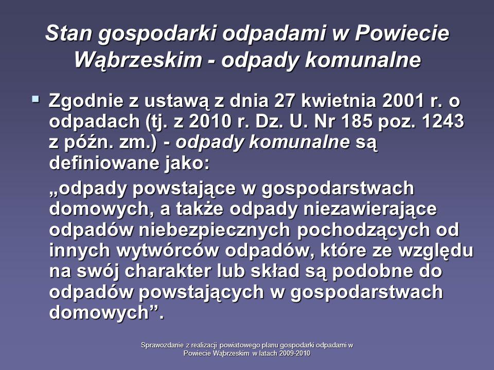 Sprawozdanie z realizacji powiatowego planu gospodarki odpadami w Powiecie Wąbrzeskim w latach 2009-2010 Stan gospodarki odpadami w Powiecie Wąbrzeskim - odpady komunalne Zgodnie z ustawą z dnia 27 kwietnia 2001 r.