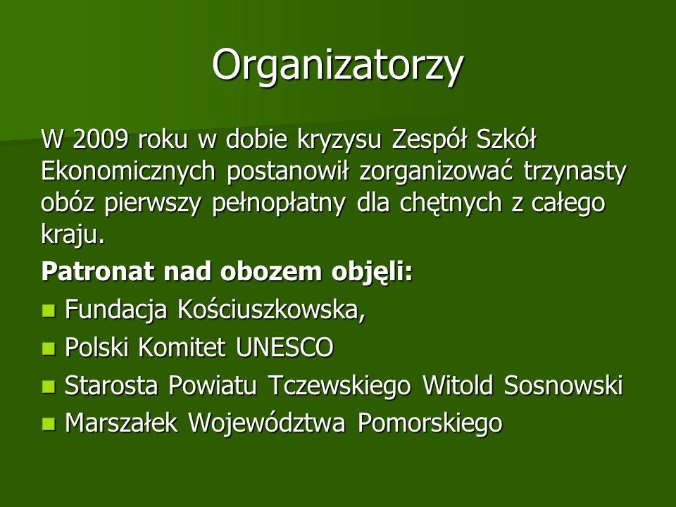 Organizatorzy W 2009 roku w dobie kryzysu Zespół Szkół Ekonomicznych postanowił zorganizować trzynasty obóz pierwszy pełnopłatny dla chętnych z całego kraju.