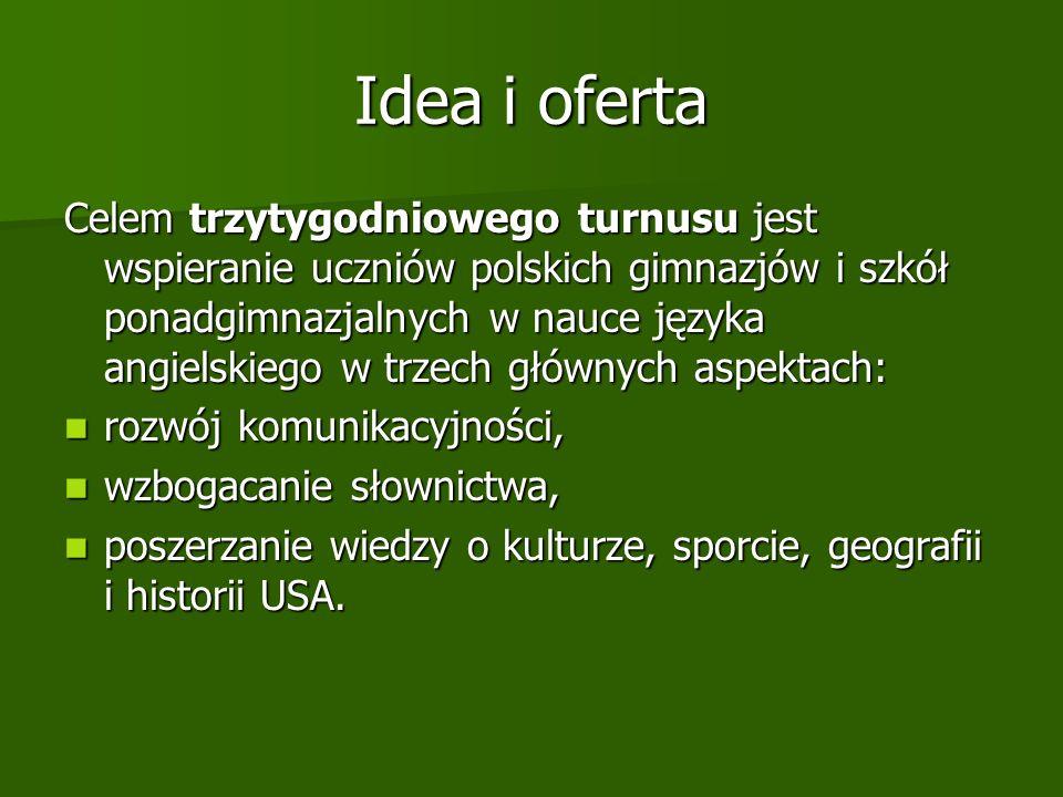 Idea i oferta Celem trzytygodniowego turnusu jest wspieranie uczniów polskich gimnazjów i szkół ponadgimnazjalnych w nauce języka angielskiego w trzech głównych aspektach: rozwój komunikacyjności, rozwój komunikacyjności, wzbogacanie słownictwa, wzbogacanie słownictwa, poszerzanie wiedzy o kulturze, sporcie, geografii i historii USA.