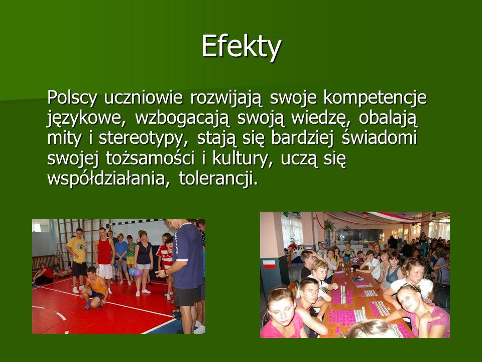 Efekty Polscy uczniowie rozwijają swoje kompetencje językowe, wzbogacają swoją wiedzę, obalają mity i stereotypy, stają się bardziej świadomi swojej tożsamości i kultury, uczą się współdziałania, tolerancji.