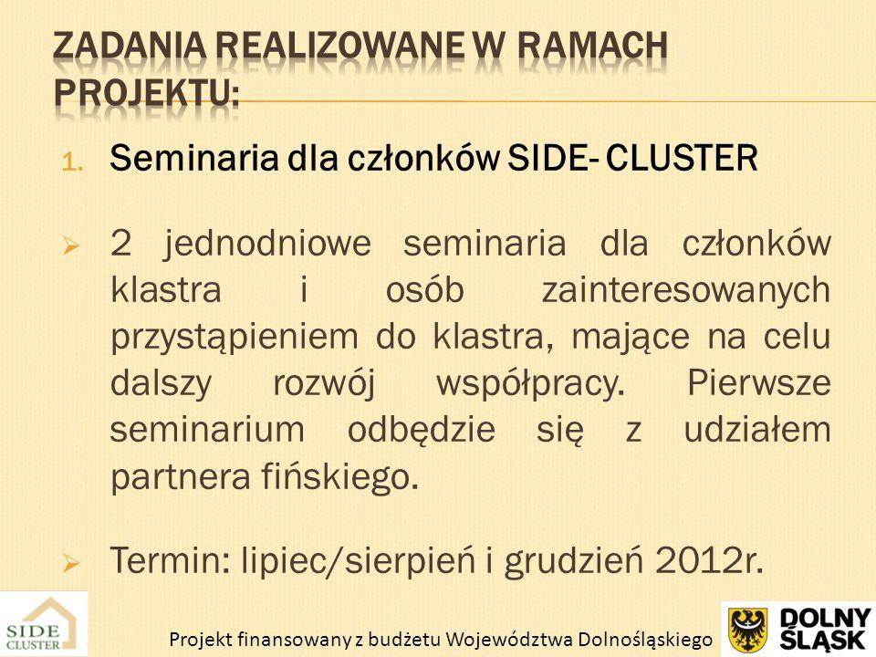 1. Seminaria dla członków SIDE- CLUSTER 2 jednodniowe seminaria dla członków klastra i osób zainteresowanych przystąpieniem do klastra, mające na celu