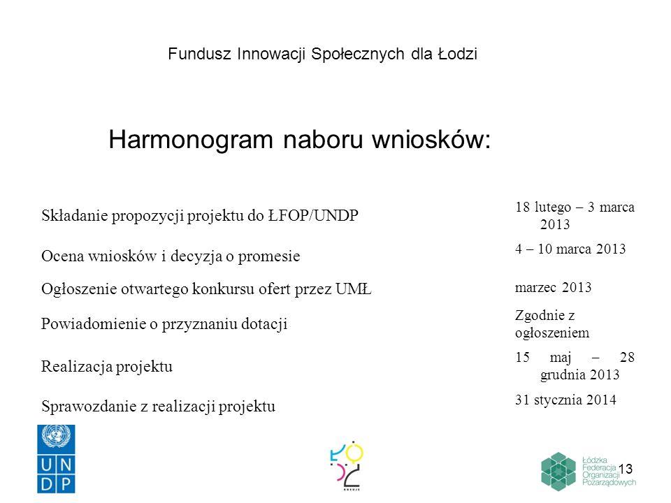 13 Harmonogram naboru wniosków: Składanie propozycji projektu do ŁFOP/UNDP 18 lutego – 3 marca 2013 Ocena wniosków i decyzja o promesie 4 – 10 marca 2