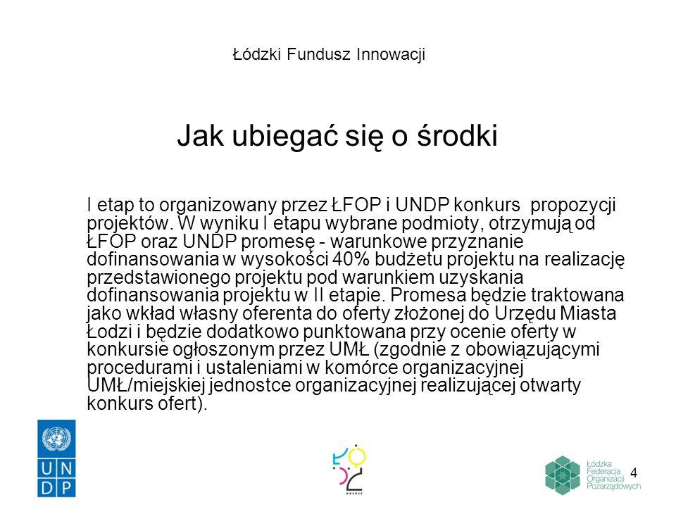 4 Jak ubiegać się o środki I etap to organizowany przez ŁFOP i UNDP konkurs propozycji projektów. W wyniku I etapu wybrane podmioty, otrzymują od ŁFOP