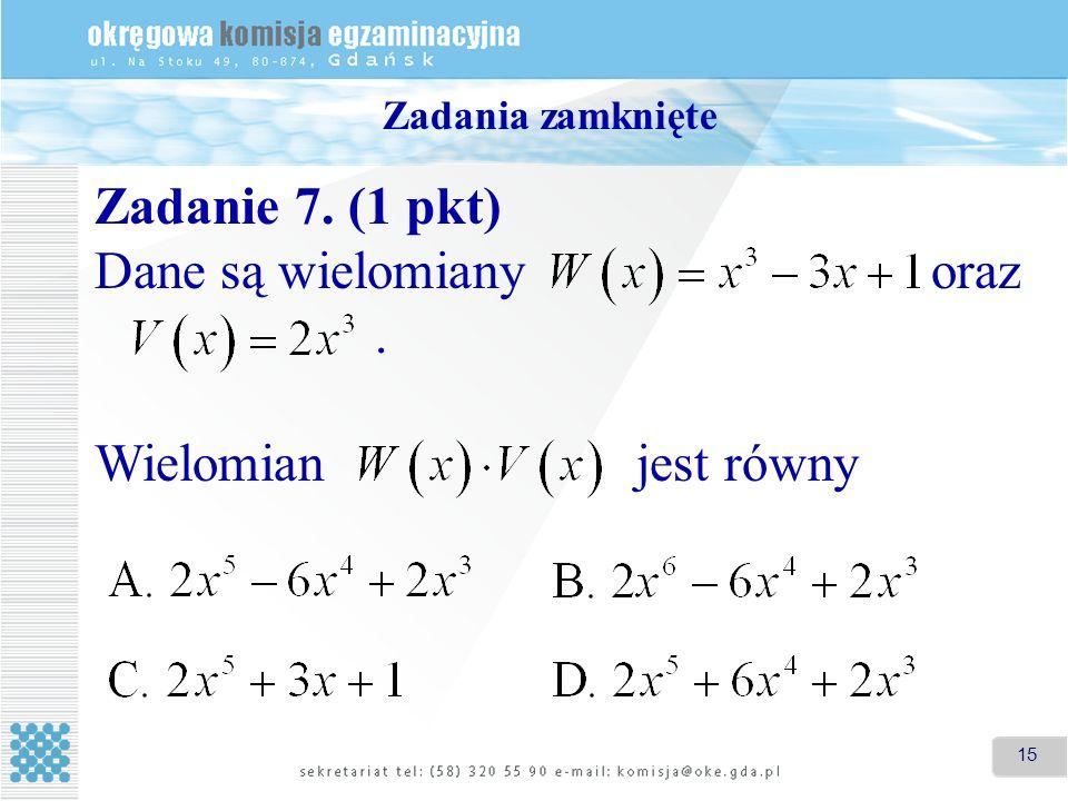 15 Zadania zamknięte Zadanie 7. (1 pkt) Dane są wielomiany oraz. Wielomian jest równy