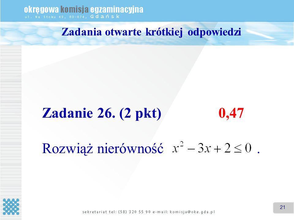 21 Zadania otwarte krótkiej odpowiedzi Zadanie 26. (2 pkt)0,47 Rozwiąż nierówność.