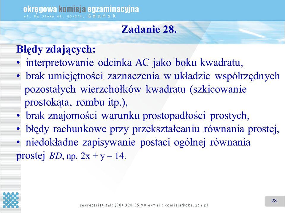 28 Zadanie 28. Błędy zdających: interpretowanie odcinka AC jako boku kwadratu, brak umiejętności zaznaczenia w układzie współrzędnych pozostałych wier