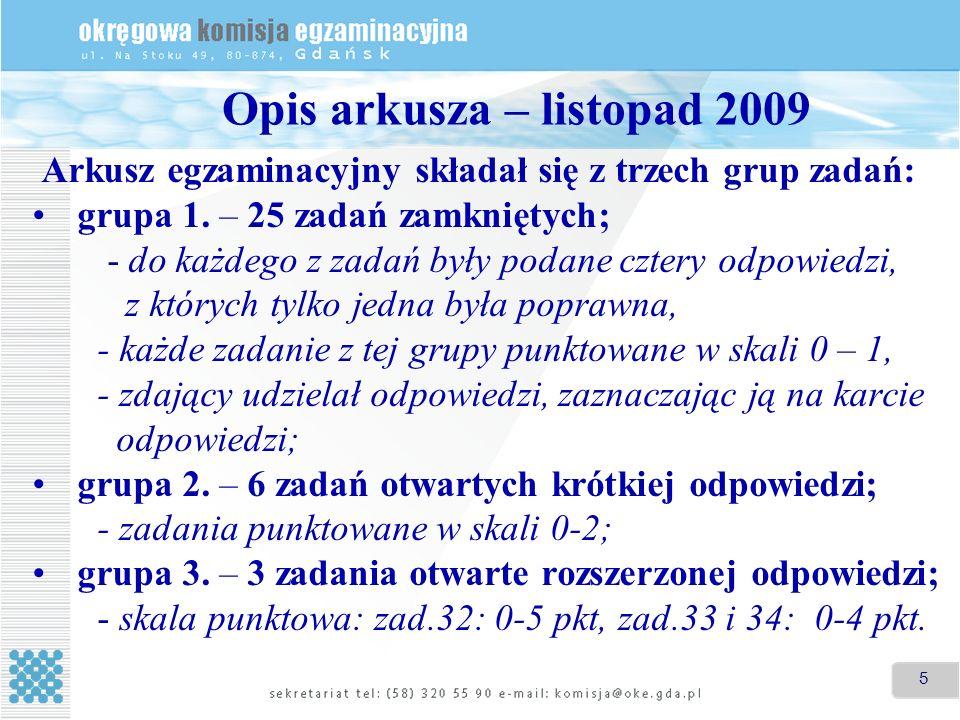 5 Opis arkusza – listopad 2009 Arkusz egzaminacyjny składał się z trzech grup zadań: grupa 1. – 25 zadań zamkniętych; - do każdego z zadań były podane