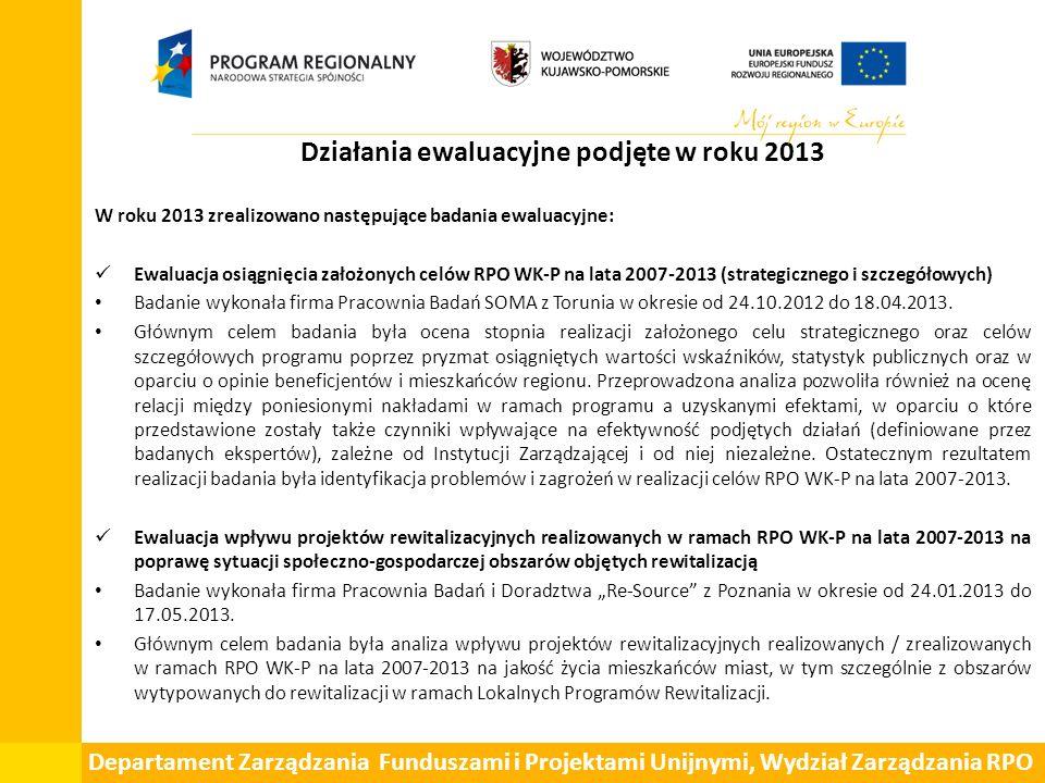 Działania ewaluacyjne podjęte w roku 2013 W roku 2013 zrealizowano następujące badania ewaluacyjne: Ewaluacja osiągnięcia założonych celów RPO WK-P na