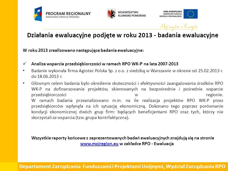 Działania ewaluacyjne podjęte w roku 2013 - badania ewaluacyjne W roku 2013 zrealizowano następujące badania ewaluacyjne: Analiza wsparcia przedsiębiorczości w ramach RPO WK-P na lata 2007-2013 Badanie wykonała firma Agrotec Polska Sp.