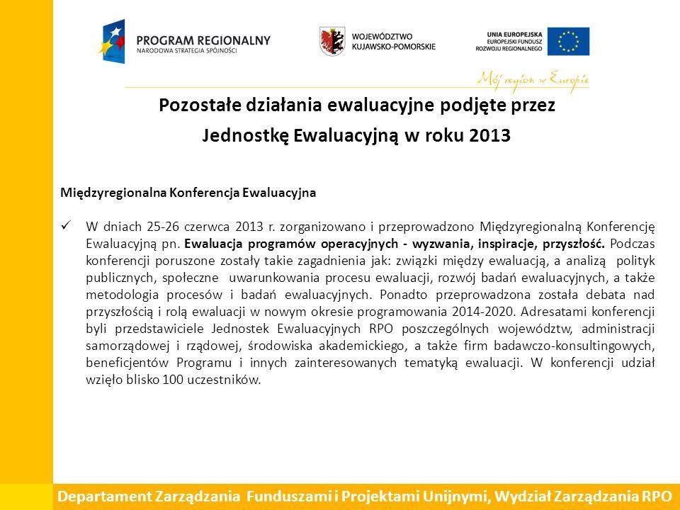 Pozostałe działania ewaluacyjne podjęte przez Jednostkę Ewaluacyjną w roku 2013 Międzyregionalna Konferencja Ewaluacyjna W dniach 25-26 czerwca 2013 r