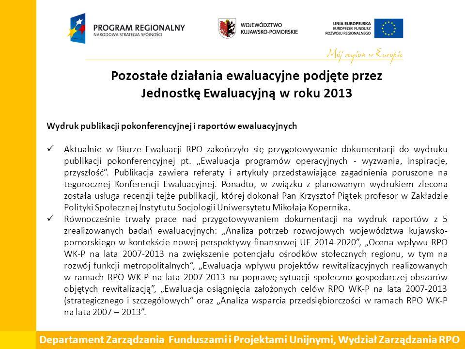 Pozostałe działania ewaluacyjne podjęte przez Jednostkę Ewaluacyjną w roku 2013 Wydruk publikacji pokonferencyjnej i raportów ewaluacyjnych Aktualnie