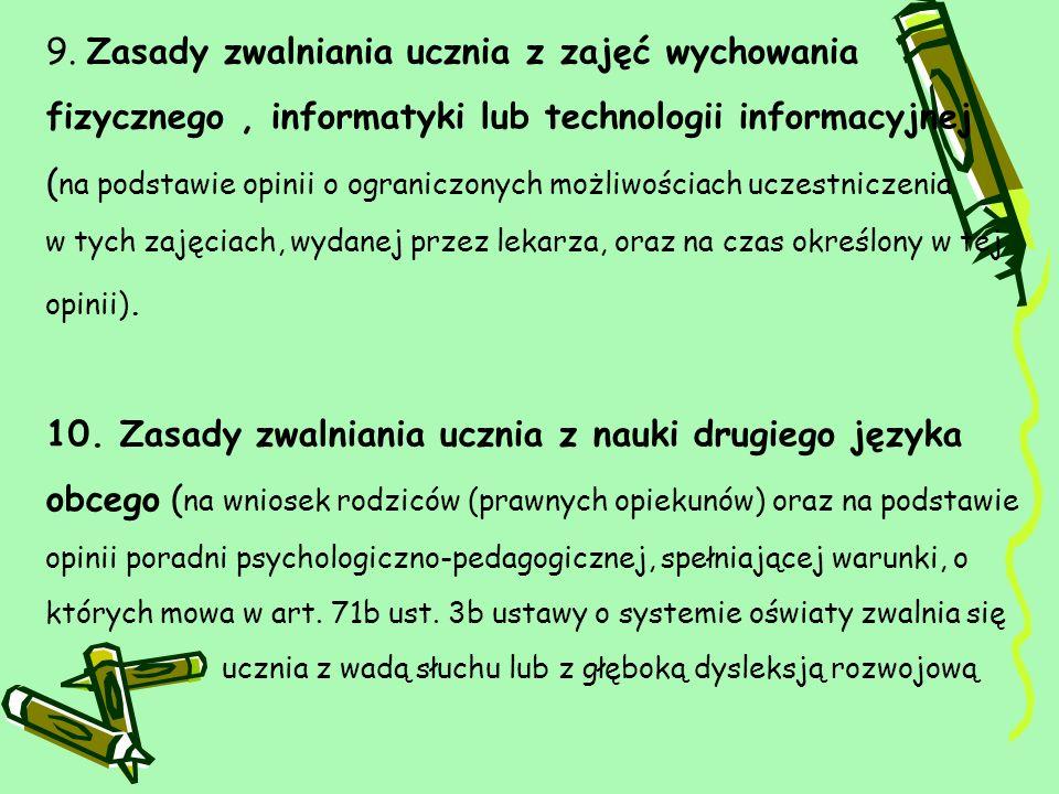 11.Zasady klasyfikacji śródrocznej i rocznej (m.in.