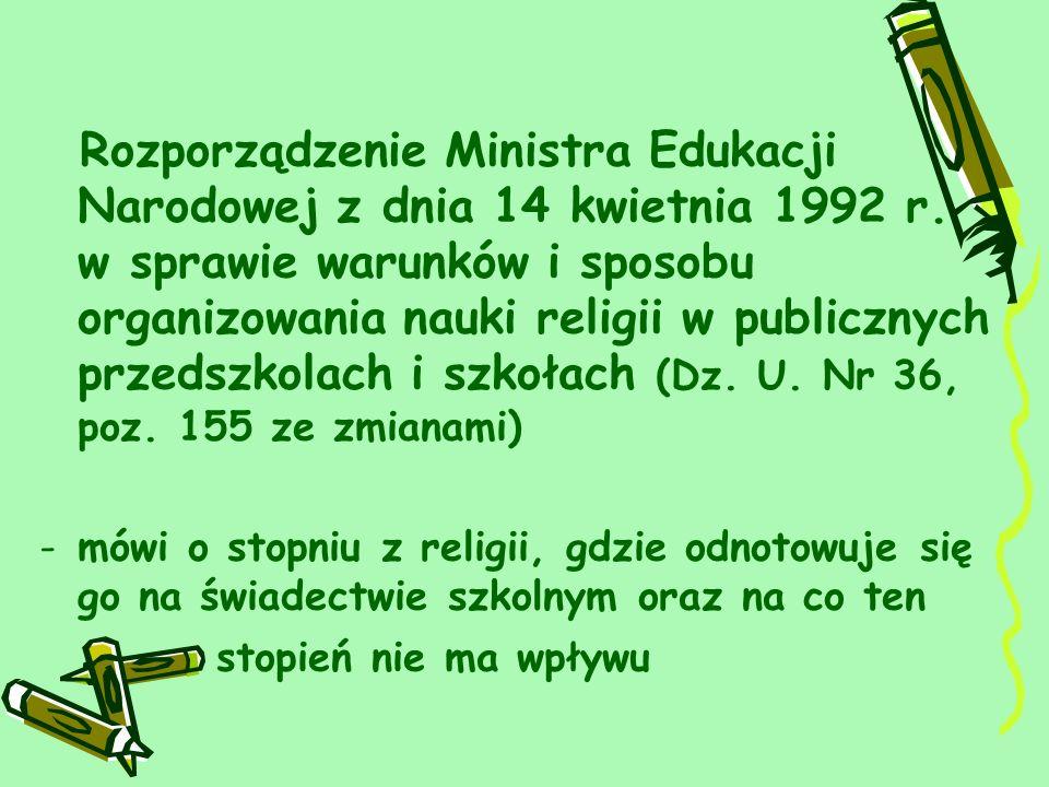 Rozporządzenie Ministra Edukacji Narodowej z dnia 14 kwietnia 1992 r.