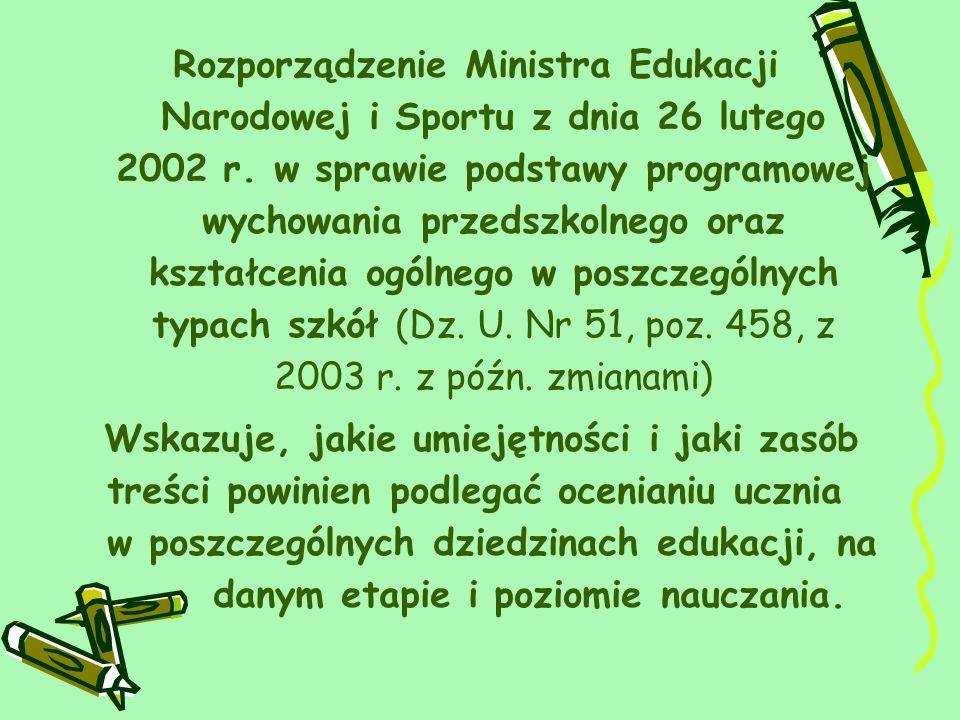 Rozporządzenie Ministra Edukacji Narodowej i Sportu z dnia 26 lutego 2002 r. w sprawie podstawy programowej wychowania przedszkolnego oraz kształcenia