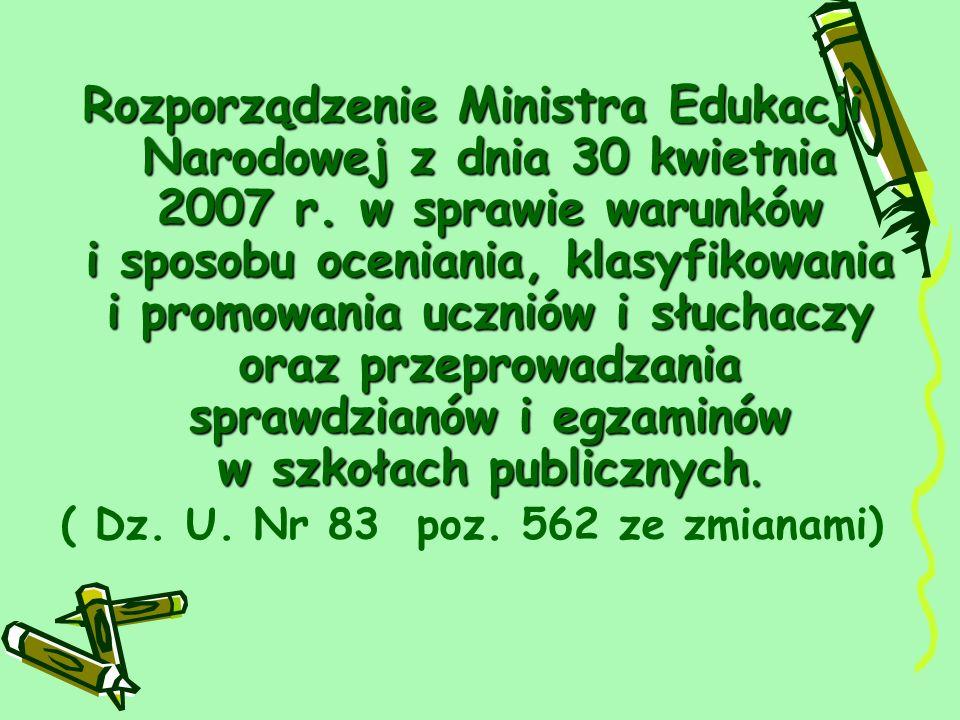 Rozporządzenie Ministra Edukacji Narodowej z dnia 30 kwietnia 2007 r.