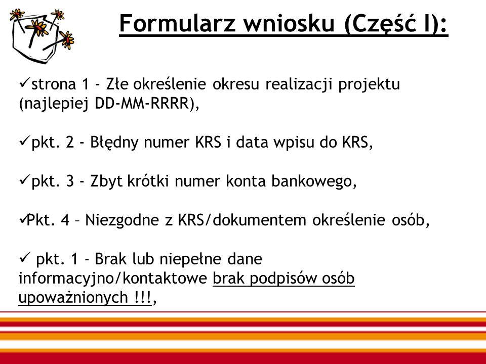 Formularz wniosku (Część I): strona 1 - Złe określenie okresu realizacji projektu (najlepiej DD-MM-RRRR), pkt. 2 - Błędny numer KRS i data wpisu do KR