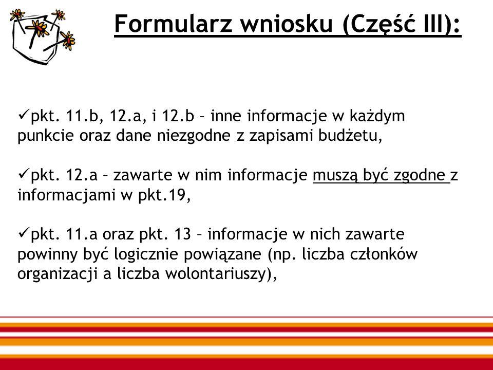 Formularz wniosku (Część III): pkt. 11.b, 12.a, i 12.b – inne informacje w każdym punkcie oraz dane niezgodne z zapisami budżetu, pkt. 12.a – zawarte