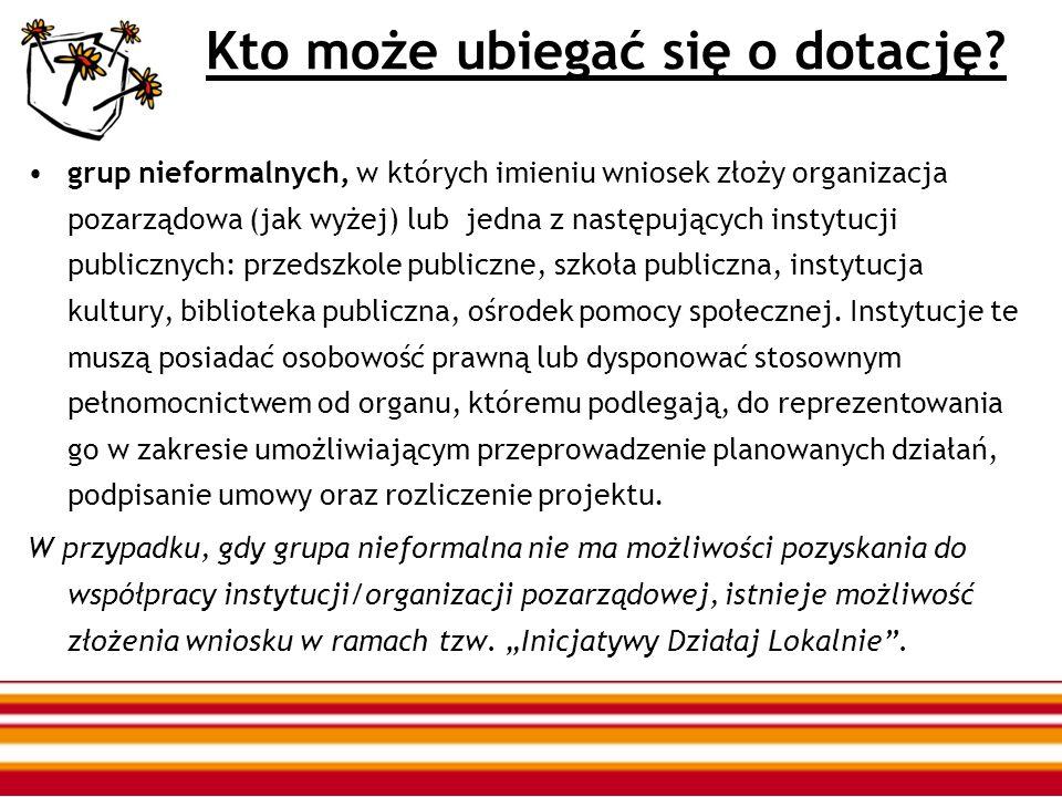 W konkursie mogą wziąć udział te organizacje i instytucje które: mają siedzibę w gminach: Cieszków, Krośnice, Milicz, Odolanów, Przygodzice, Sośnie, Twardogóra, Żmigród; planują prowadzić działania na terenie jednej z wymienionych gmin;