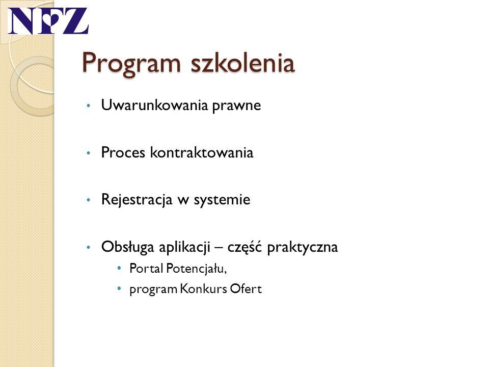 Program szkolenia Uwarunkowania prawne Proces kontraktowania Rejestracja w systemie Obsługa aplikacji – część praktyczna Portal Potencjału, program Ko