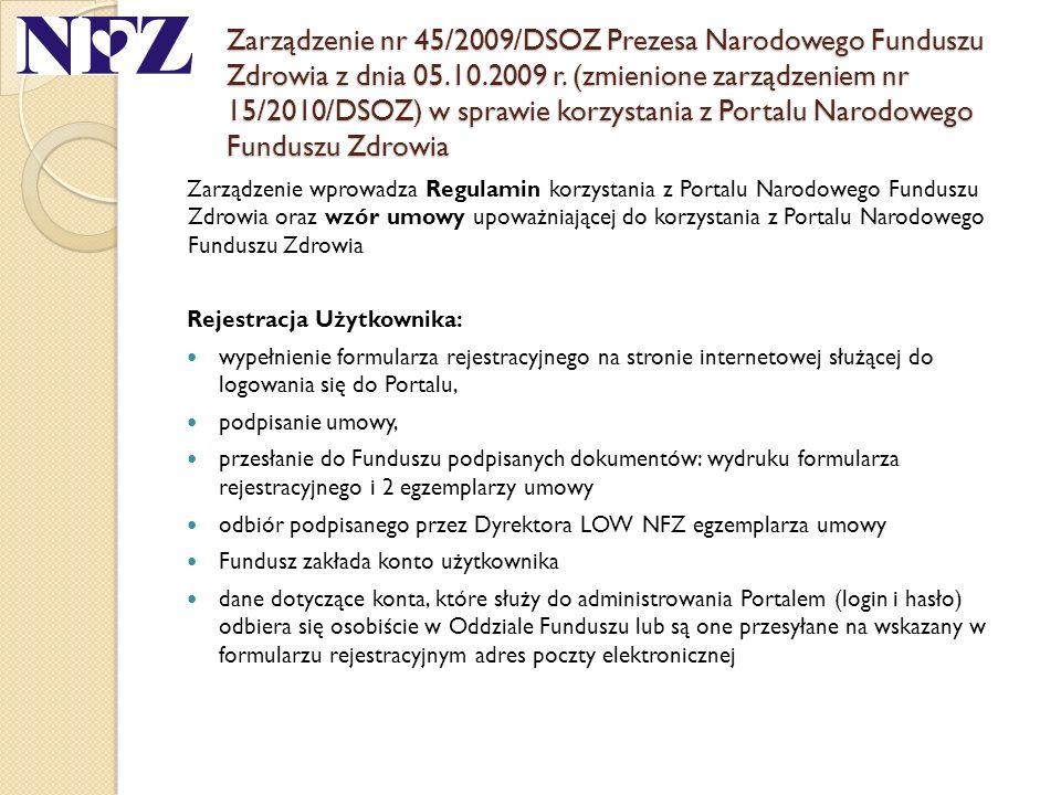 Zarządzenie nr 45/2009/DSOZ Prezesa Narodowego Funduszu Zdrowia z dnia 05.10.2009 r. (zmienione zarządzeniem nr 15/2010/DSOZ) w sprawie korzystania z