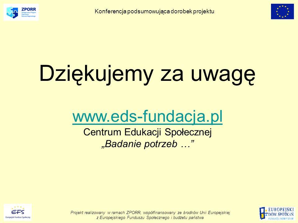 Projekt realizowany w ramach ZPORR, współfinansowany ze środków Unii Europejskiej z Europejskiego Funduszu Społecznego i budżetu państwa Konferencja podsumowująca dorobek projektu Dziękujemy za uwagę www.eds-fundacja.pl Centrum Edukacji Społecznej Badanie potrzeb …