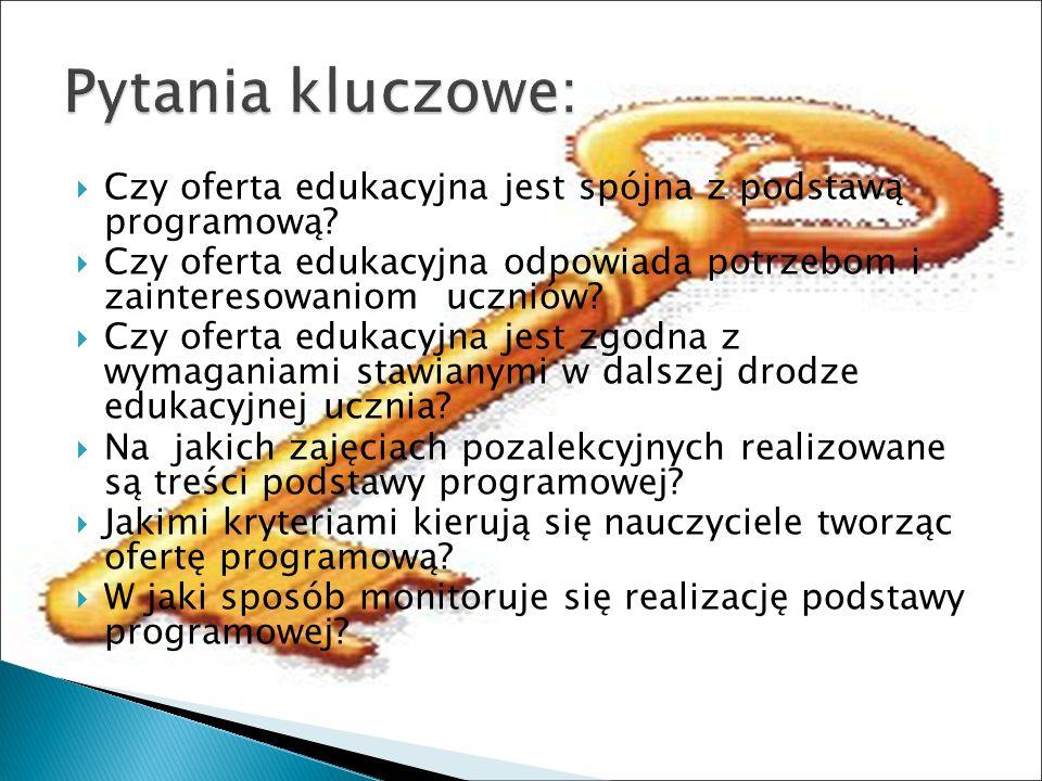 Czy oferta edukacyjna jest spójna z podstawą programową.
