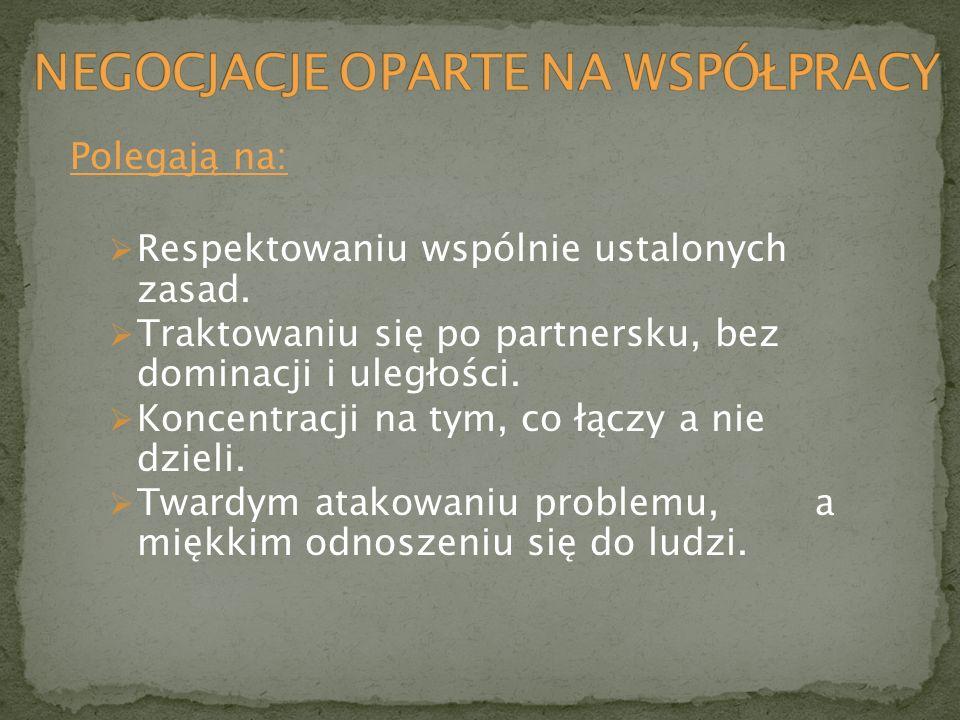 Polegają na: Respektowaniu wspólnie ustalonych zasad. Traktowaniu się po partnersku, bez dominacji i uległości. Koncentracji na tym, co łączy a nie dz