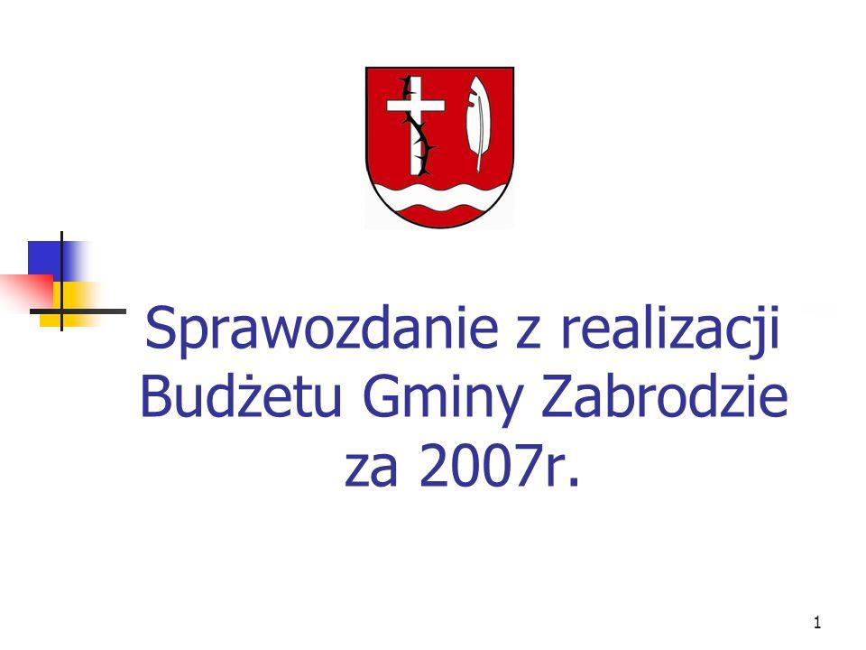 1 Sprawozdanie z realizacji Budżetu Gminy Zabrodzie za 2007r.