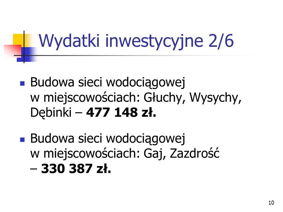 10 Wydatki inwestycyjne 2/6 Budowa sieci wodociągowej w miejscowościach: Głuchy, Wysychy, Dębinki – 477 148 zł. Budowa sieci wodociągowej w miejscowoś