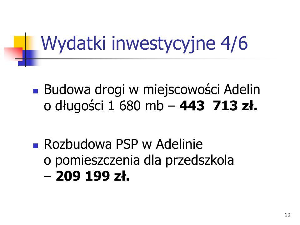 12 Wydatki inwestycyjne 4/6 Budowa drogi w miejscowości Adelin o długości 1 680 mb – 443 713 zł. Rozbudowa PSP w Adelinie o pomieszczenia dla przedszk