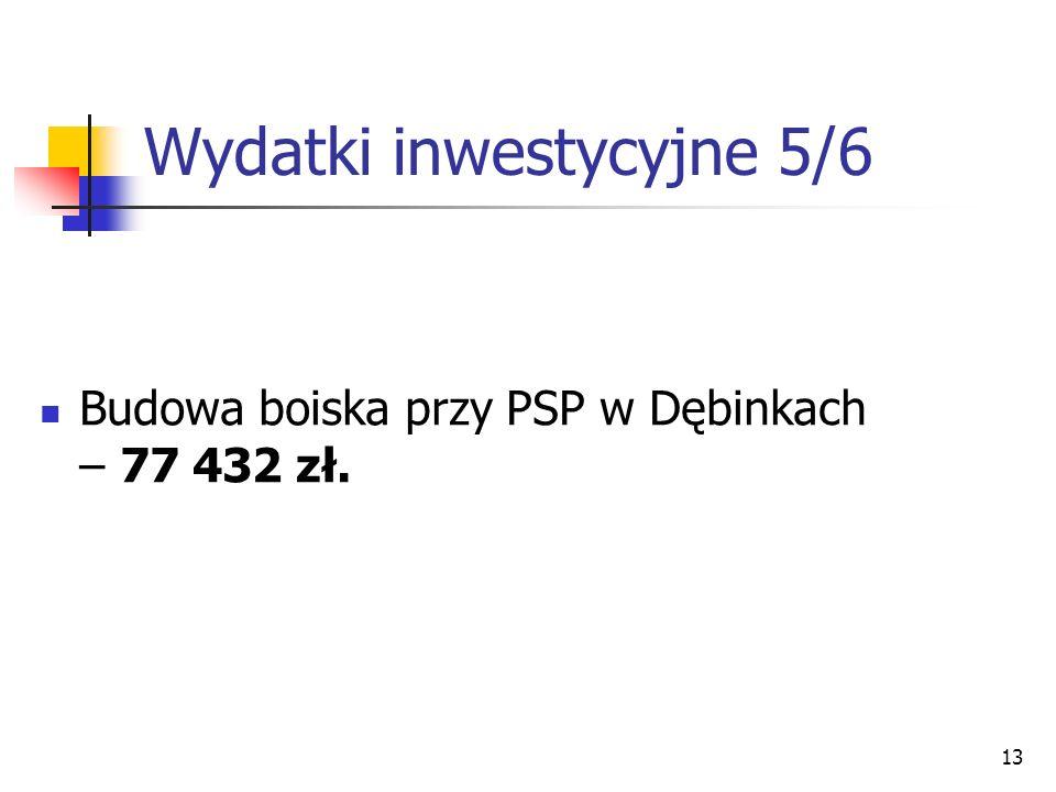 13 Wydatki inwestycyjne 5/6 Budowa boiska przy PSP w Dębinkach – 77 432 zł.