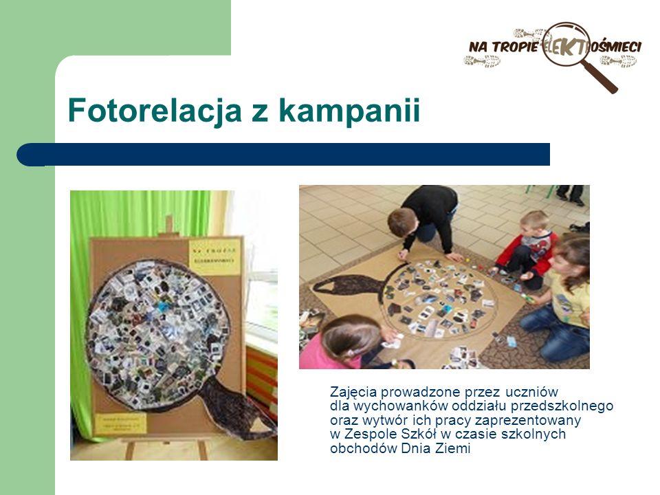 Fotorelacja z kampanii Zajęcia prowadzone przez uczniów dla wychowanków oddziału przedszkolnego oraz wytwór ich pracy zaprezentowany w Zespole Szkół w czasie szkolnych obchodów Dnia Ziemi