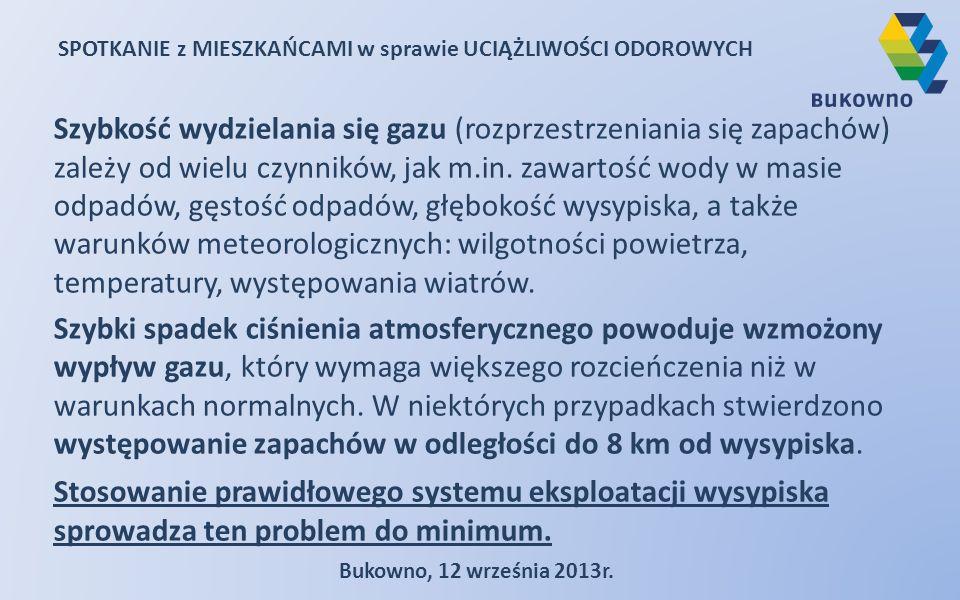 SPOTKANIE z MIESZKAŃCAMI w sprawie UCIĄŻLIWOŚCI ODOROWYCH Bukowno, 12 września 2013r. Szybkość wydzielania się gazu (rozprzestrzeniania się zapachów)