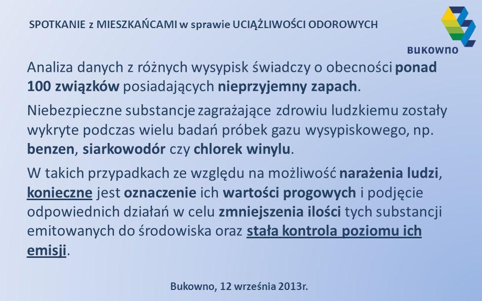 SPOTKANIE z MIESZKAŃCAMI w sprawie UCIĄŻLIWOŚCI ODOROWYCH Bukowno, 12 września 2013r. Analiza danych z różnych wysypisk świadczy o obecności ponad 100