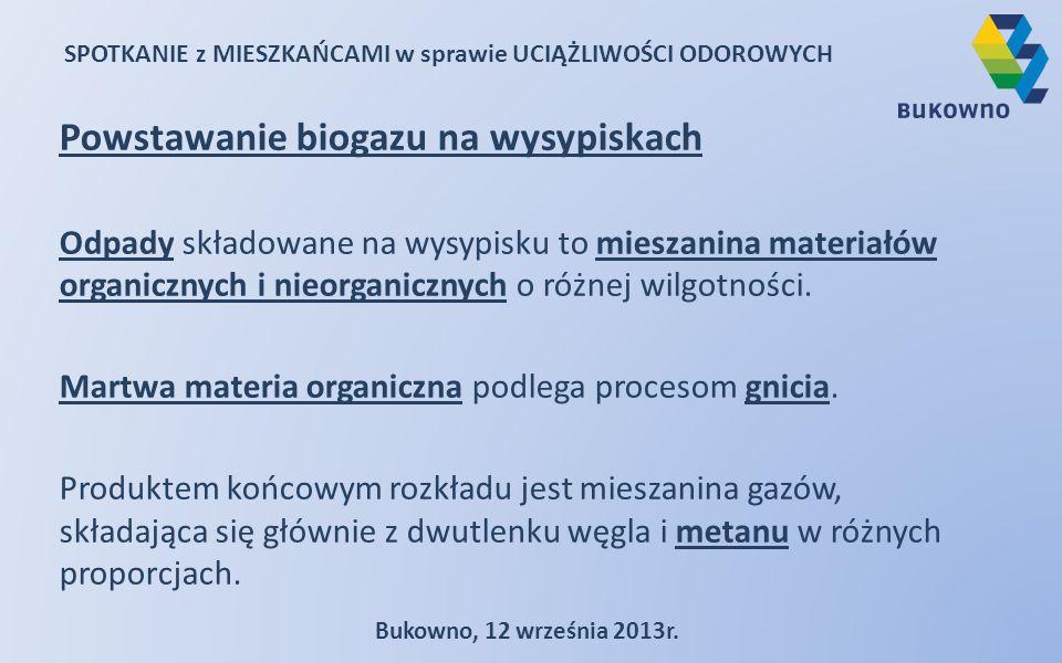 SPOTKANIE z MIESZKAŃCAMI w sprawie UCIĄŻLIWOŚCI ODOROWYCH Bukowno, 12 września 2013r. Powstawanie biogazu na wysypiskach Odpady składowane na wysypisk