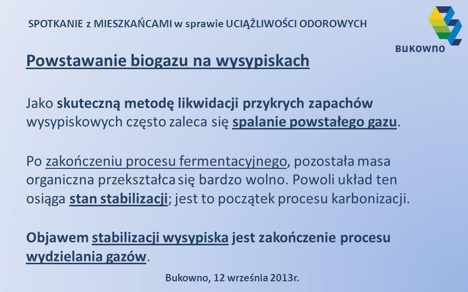 SPOTKANIE z MIESZKAŃCAMI w sprawie UCIĄŻLIWOŚCI ODOROWYCH Bukowno, 12 września 2013r. Powstawanie biogazu na wysypiskach Jako skuteczną metodę likwida