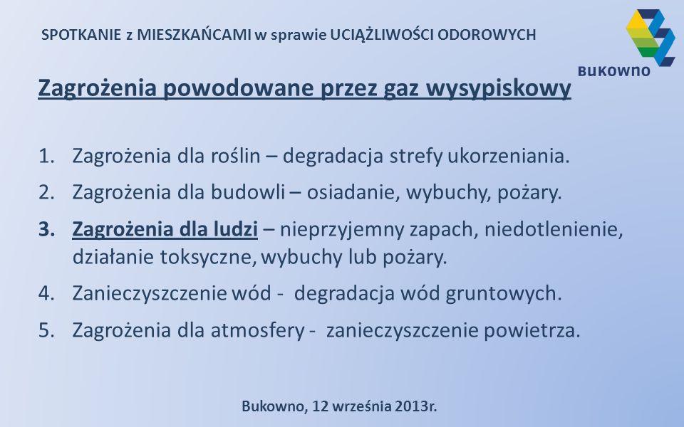 SPOTKANIE z MIESZKAŃCAMI w sprawie UCIĄŻLIWOŚCI ODOROWYCH Bukowno, 12 września 2013r. Zagrożenia powodowane przez gaz wysypiskowy 1.Zagrożenia dla roś