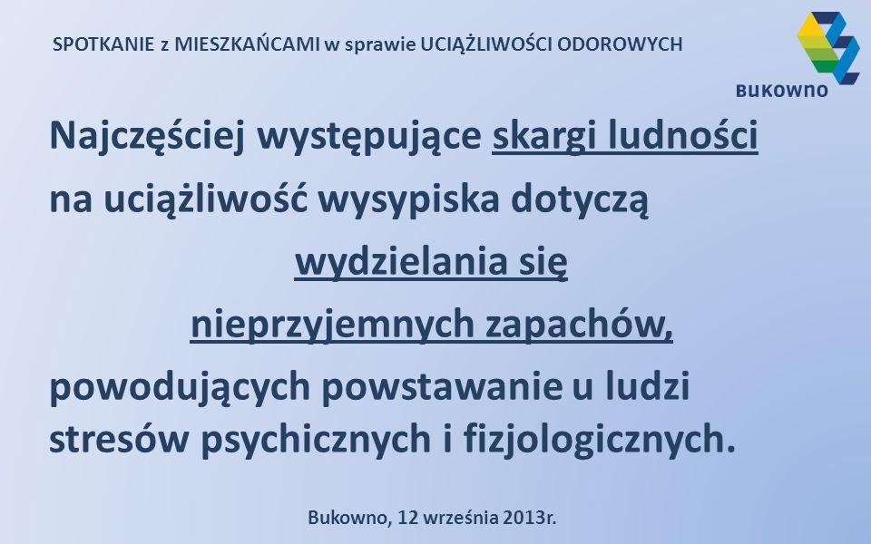 SPOTKANIE z MIESZKAŃCAMI w sprawie UCIĄŻLIWOŚCI ODOROWYCH Bukowno, 12 września 2013r. Najczęściej występujące skargi ludności na uciążliwość wysypiska