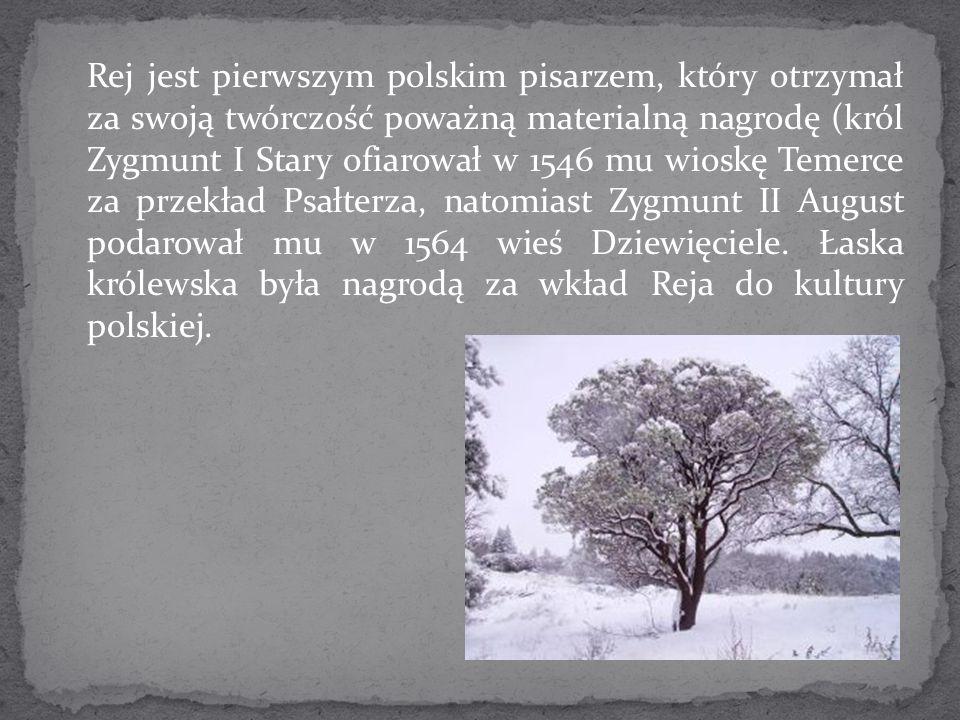 Rej jest pierwszym polskim pisarzem, który otrzymał za swoją twórczość poważną materialną nagrodę (król Zygmunt I Stary ofiarował w 1546 mu wioskę Tem