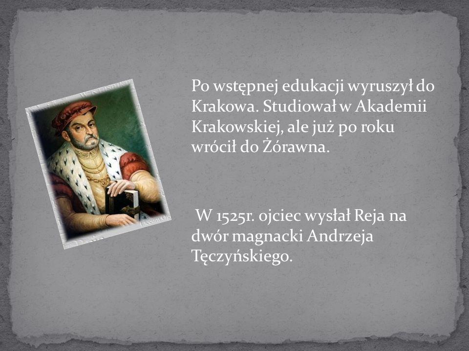 Po wstępnej edukacji wyruszył do Krakowa. Studiował w Akademii Krakowskiej, ale już po roku wrócił do Żórawna. W 1525r. ojciec wysłał Reja na dwór mag