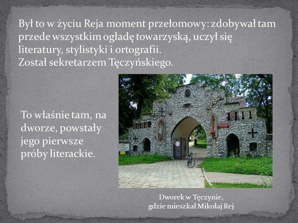 Był to w życiu Reja moment przełomowy: zdobywał tam przede wszystkim ogładę towarzyską, uczył się literatury, stylistyki i ortografii. Został sekretar