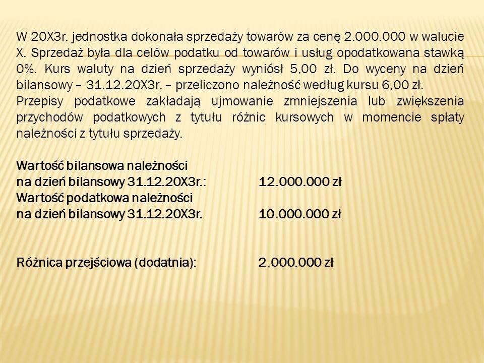 W 20X3r. jednostka dokonała sprzedaży towarów za cenę 2.000.000 w walucie X. Sprzedaż była dla celów podatku od towarów i usług opodatkowana stawką 0%