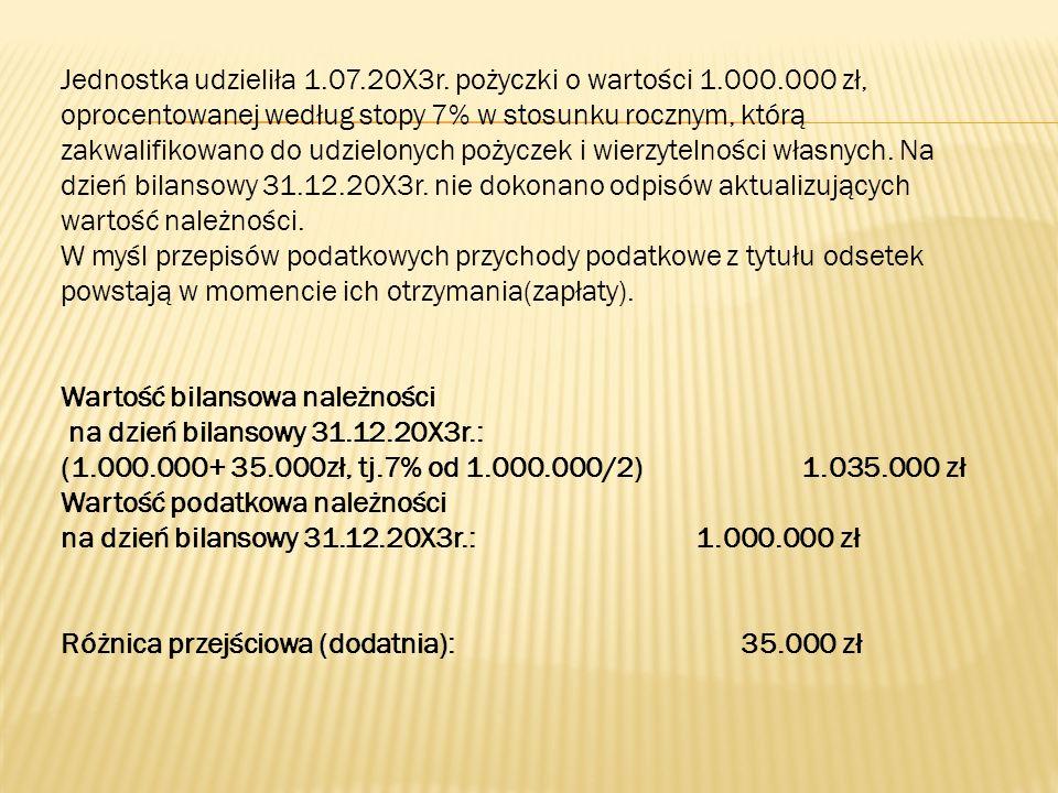 Jednostka udzieliła 1.07.20X3r. pożyczki o wartości 1.000.000 zł, oprocentowanej według stopy 7% w stosunku rocznym, którą zakwalifikowano do udzielon