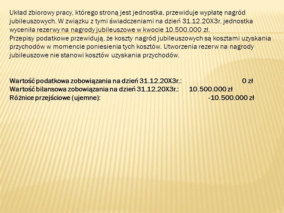 Układ zbiorowy pracy, którego stroną jest jednostka, przewiduje wypłatę nagród jubileuszowych. W związku z tymi świadczeniami na dzień 31.12.20X3r. je