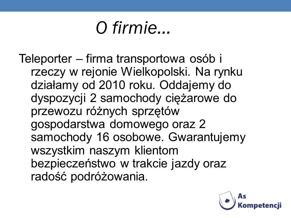 O firmie… Teleporter – firma transportowa osób i rzeczy w rejonie Wielkopolski. Na rynku działamy od 2010 roku. Oddajemy do dyspozycji 2 samochody cię